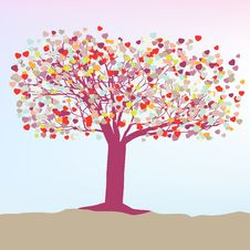 Free Romantic Tree With Hearts Template Card. EPS 8 Royalty Free Stock Photos - 18420638