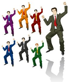 Free Happy Jumping Businessman Stock Images - 18421034