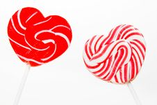 Free Retro Style Red , Pink Heart Shape Lollipop Royalty Free Stock Images - 18421199