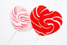 Free Retro Style Red , Pink Heart Shape Lollipop Stock Photography - 18421202