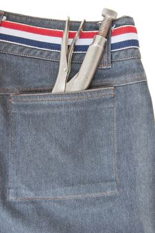 Tool Put In Back Pocket View Of Jeans Royalty Free Stock Photography