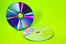 Free Two CD With Green Background Royalty Free Stock Photo - 18421785