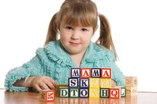 Free The Little Girl Plays Cubes Stock Photo - 18421810