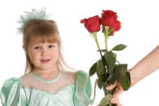Free The Little Girl Gives A Bouquet Of Roses Stock Image - 18421911