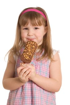 The Little Girl Eats Ice-cream Royalty Free Stock Images