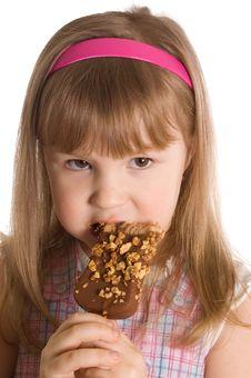 Free The Little Girl Eats Ice-cream Stock Photography - 18421942