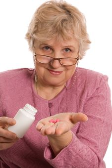 Free The Elderly Woman With Tablets Royalty Free Stock Images - 18421989