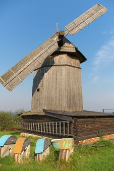 Free Old Wooden Windmill Stock Image - 18423651