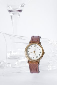 Free Wristwatch And Glass Royalty Free Stock Photo - 18423735