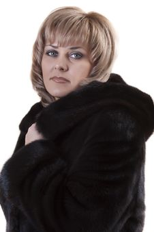 Free Adult Blonde In A Mink Coat Stock Image - 18424401