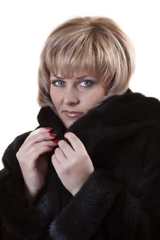 Free Adult Blonde In A Mink Coat Royalty Free Stock Photos - 18424548