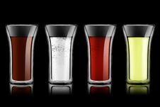 Free Drink Set On Black Royalty Free Stock Photography - 18424607