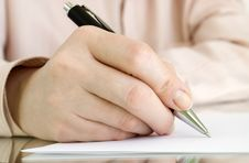 Free Pen In Hand Writing On The Page Royalty Free Stock Photography - 18425097