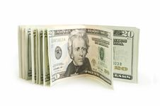 Free Dollars Over White Stock Photo - 18425180