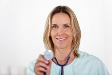 Free Woman Doctor With Stethoscope Royalty Free Stock Image - 18425436