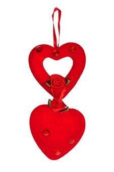 Free Two Decorative Heart Made Of Red Velvet Stock Photo - 18425770