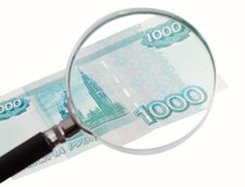 Free Paper Money Increased Magnifying Glass Royalty Free Stock Photos - 18427338