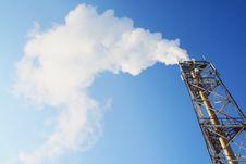 Free Gas. Smoke Leaving A Pipe. On Blue Sky Stock Photos - 18428013