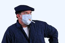 Free Smoking With A Breathing Mask On Stock Images - 18429464