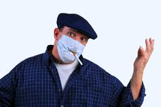 Free Confused Man In Breathing Mask Royalty Free Stock Images - 18429499