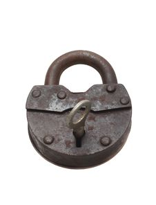 Free Lock And Key On A White Background (isolated). Royalty Free Stock Photos - 18429728