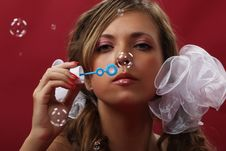 Girl With A Soap Bubbles Stock Images