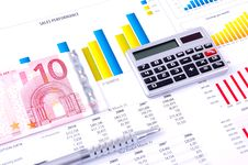 Free Financial Analysis With Charts. European Currency Royalty Free Stock Photography - 18430097