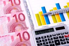 Free Financial Analysis With Charts. European Currency Royalty Free Stock Image - 18430106