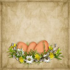 Easter Card For The Holiday With Egg Stock Photos