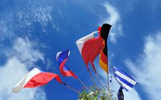 Free Flags Of Several Europe States Against Cloudy Sky Stock Photo - 18431650