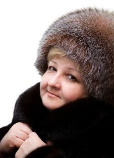 Beautiful Woman Wearing In Fur Hat And In Fur Coat Stock Photos