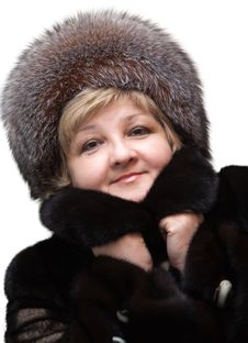 Beautiful Woman Wearing In Fur Hat And In Fur Coat Royalty Free Stock Images