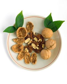 Walnuts On A Plate Royalty Free Stock Photography