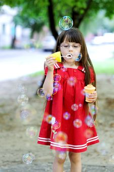 Free Beauty Little Girl With Long Hair And Bubbles Stock Photos - 18434803