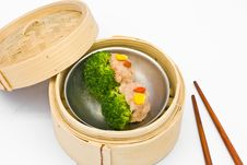 Chinese Steamed Dim Sum Broccoli Royalty Free Stock Photos