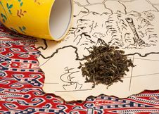 Treasure Map, Tea And A Tea Cup Stock Photos