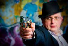 Man Aiming With Gun Royalty Free Stock Photos
