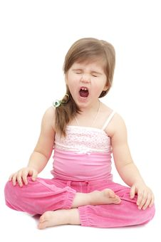 Free Sleepy Little Girl Sits Like A Turk Royalty Free Stock Images - 18437569