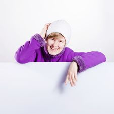 Free Young Woman In A Warm Cap And A Sweater Stock Photography - 18438092