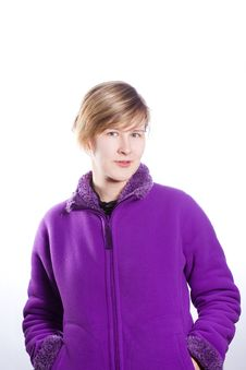 Free Young Woman In A Warm Violet Sweater Stock Image - 18438161