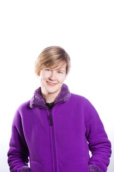 Free Young Woman In A Warm Violet Sweater Royalty Free Stock Photography - 18438197