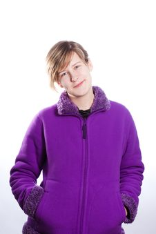 Free Young Woman In A Warm Violet Sweater Stock Image - 18438271