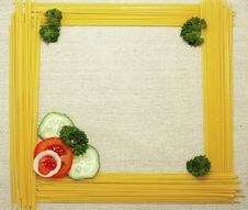 Frame Of Spaghetti ,tomato,cucumber Royalty Free Stock Photography