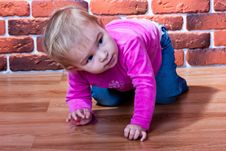 Free Beautiful Baby Crawling On The Floor 	Beautiful Ba Royalty Free Stock Image - 18438766