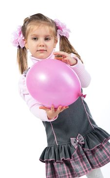 Free Pretty Little Girl With Balloon Stock Images - 18438824