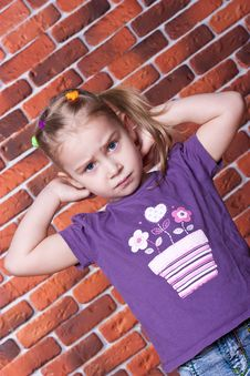Free Beautiful Girl Against The Break Wall Royalty Free Stock Image - 18438936
