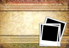 Instant Photo Frame On Vintage Background Stock Photography