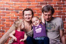 Free Happy Seniors Couple With Grandchildren Stock Photography - 18439642