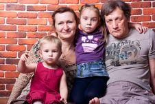 Free Happy Seniors Couple With Grandchildren Stock Photography - 18439792