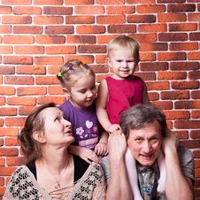Free Happy Seniors Couple With Grandchildren Stock Images - 18439824